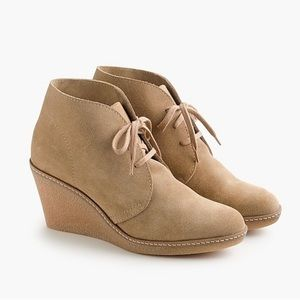 J.Crew MacAlister Tan Leather Suede Wedge Boots 7